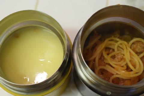 パスタとコーンスープ
