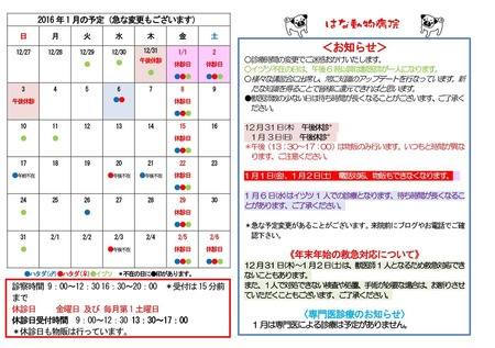 2016年1月の予定(A4)
