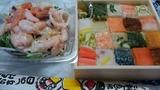 伊勢丹地下で買ったシーフードサラダとお寿司