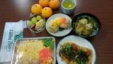 長芋お焼き・散らし寿司・きのこ汁・フルーツ