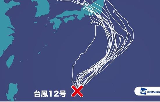 世界の各機関が予想する台風12号の進路