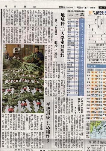 毎日新聞20181129
