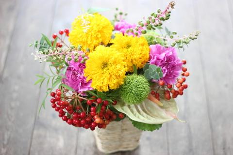 季節の花❀マリーゴールドのアレンジメント