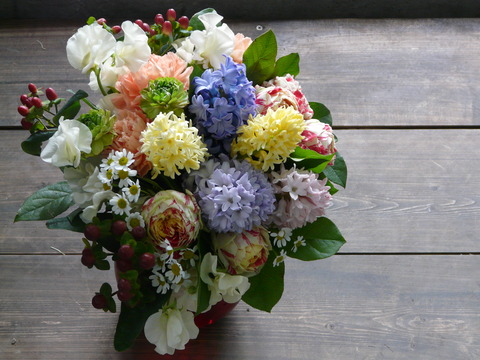 スプリングブーケ『ヒヤシンスと春のお花の花束』