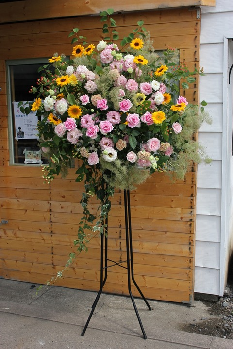 お祝いのお花スタンド花&トケイソウ♪