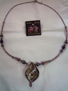 手作りガラスネックレス紫 群馬県高崎市花がたみ