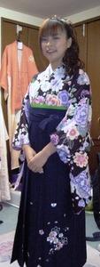 レトロな花柄とハカマ貸衣装群馬県高崎市花がたみ着付教室