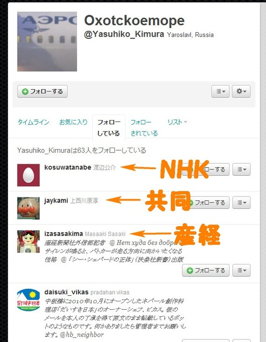 Twitter - Yasuhiko_Kimuraがフォローしているユーザー
