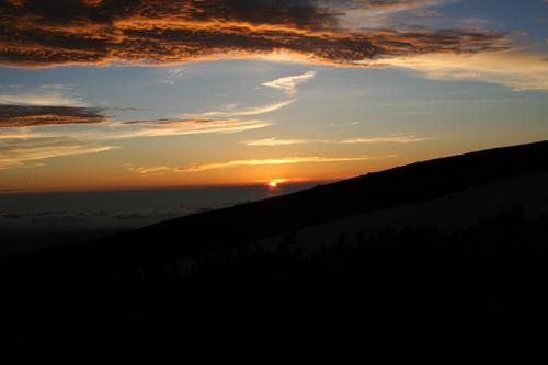 白山の夕陽