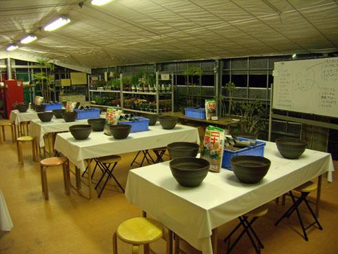 寄せ植え教室 準備  O.K