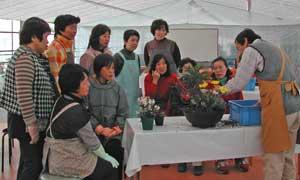 根上町園芸グループの寄せ植え教室