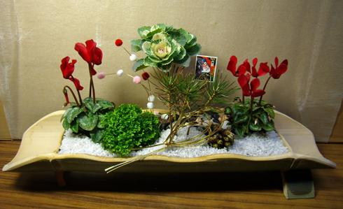 孟宗竹のお正月のミニ寄せ植え