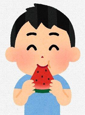 s-20200506スイカを食べる男の子