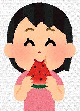 s-20200506スイカを食べる女の子