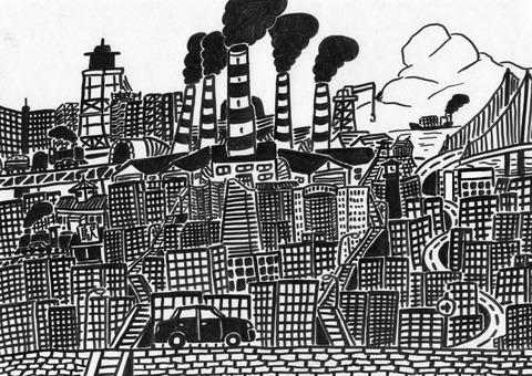 白い空と黒い工場地区