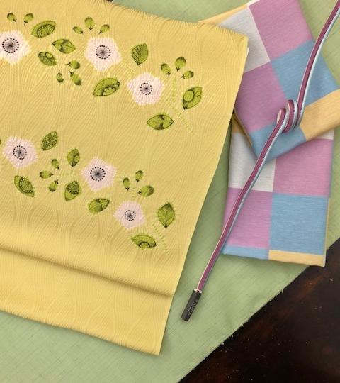 黄緑紬×黄しぼり帯