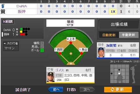 2014年9月29日 阪神 vs DeNA 一球速報 - スポーツナビ