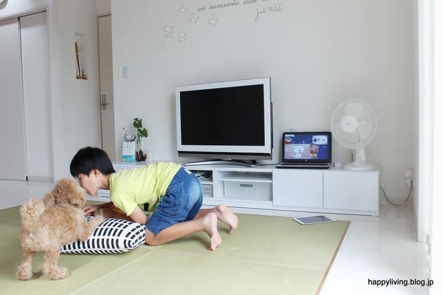 ホワイトインテリア 生活感のない部屋 テレビボード コード (5)