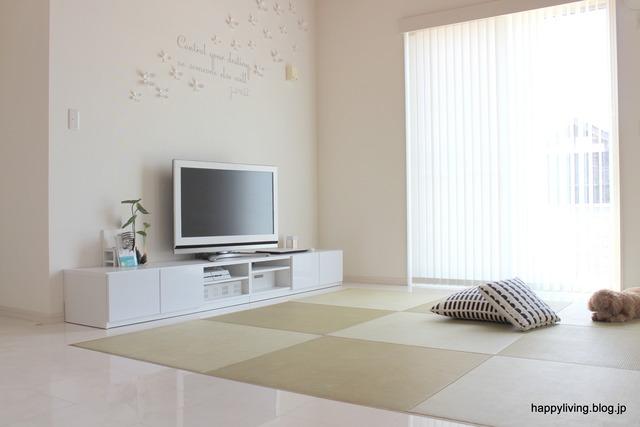 ホワイトインテリア 生活感のない部屋 テレビボード コード (2)