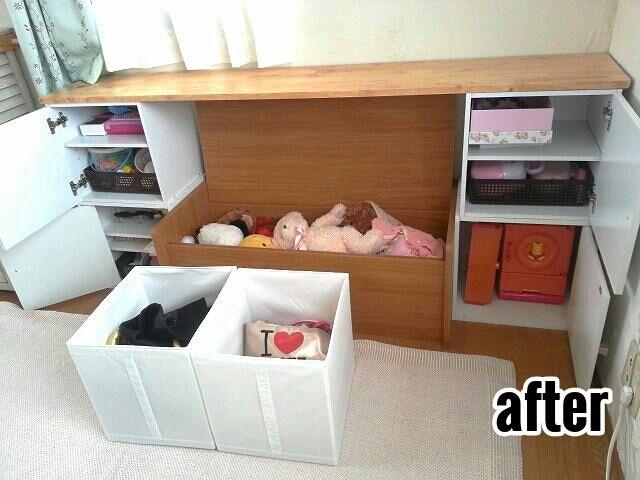 子供部屋 女の子 ベンチ おもちゃ収納 中身