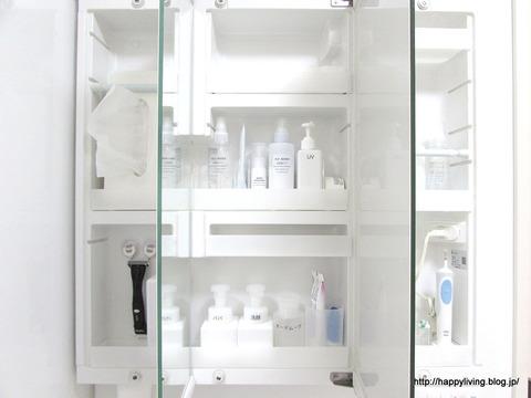 洗面台鏡裏収納 ダイソープッシュアップボトル ホワイトインテリア