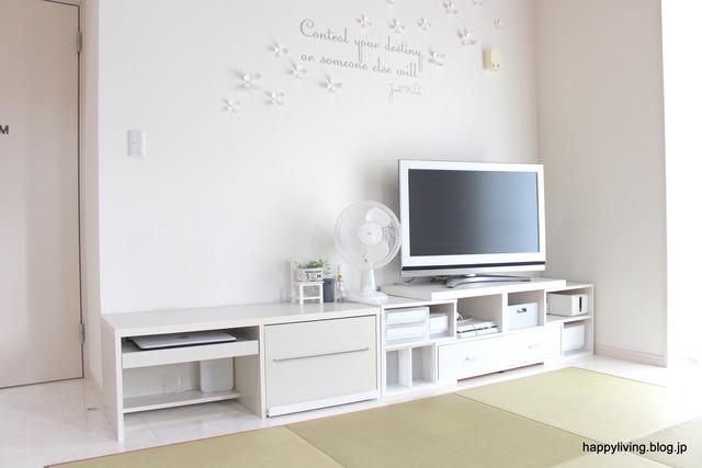 ホワイトインテリア テレビボード パソコンデスク (4)