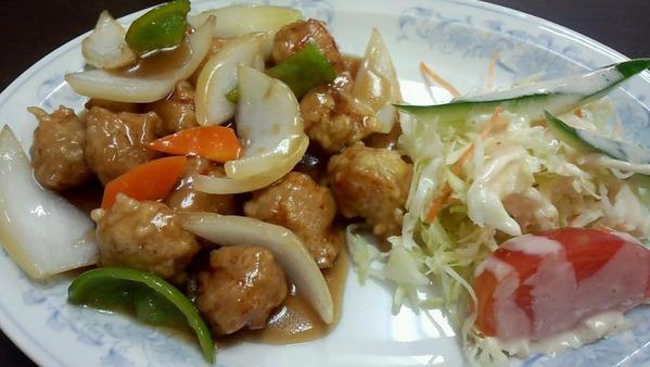 揚子江の酢豚定食