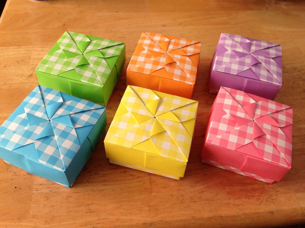 すべての折り紙 折り紙 風車 作り方 : ... 四角箱 市松風車Aの色がわり