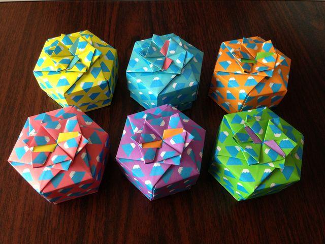 すべての折り紙 折り紙 星 箱 : ... 『箱をつくろう』より 六角箱