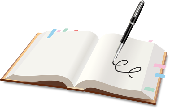 万年筆と本