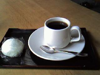 高尾まんぢゅうとコーヒーセット350円也