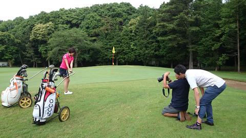 ゴルフダイジェスト撮影風景(藤田美里さん)