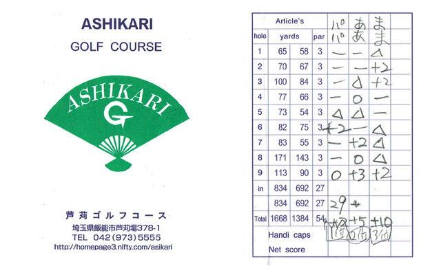 芦刈ゴルフコースのスコアカード