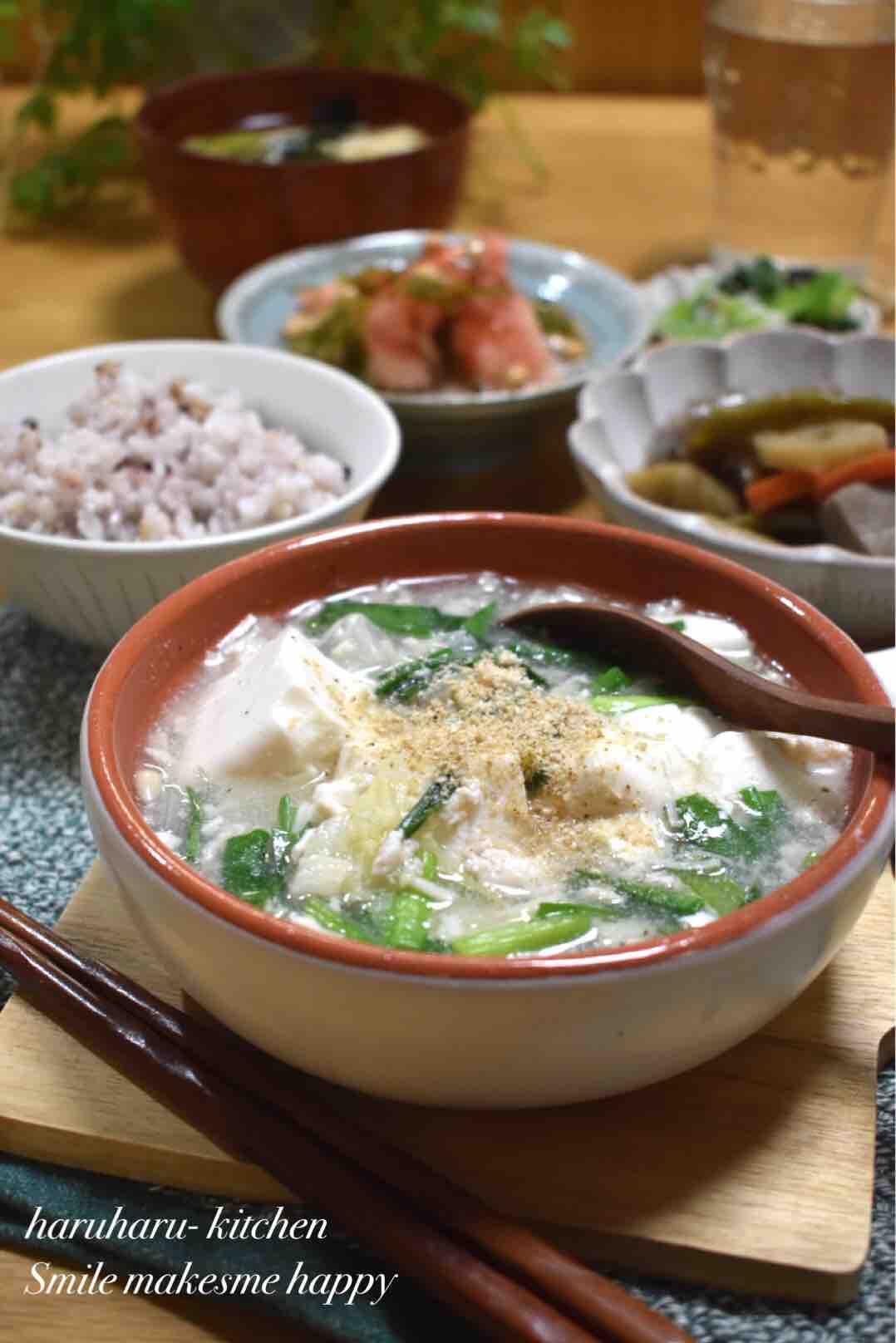 レシピ】豆腐と白菜のそぼろ餡かけスープおかずスープヘルシー
