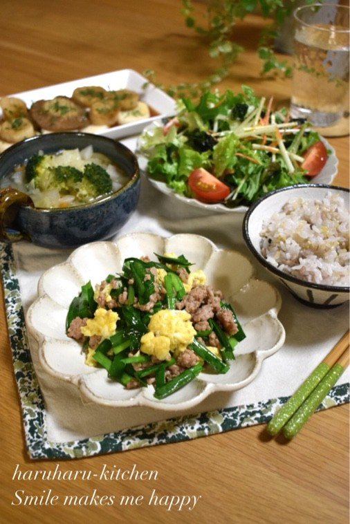 【レシピ】ふわふわ卵のニラそぼろ✳ ご飯のおかず✳ 簡単✳ 野菜たっぷり晩ごはん。