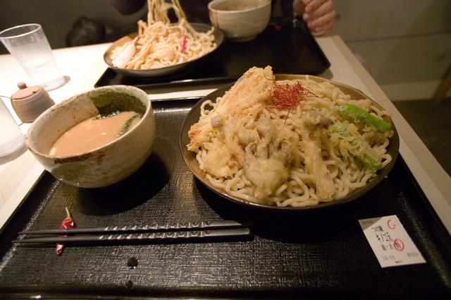 桜みち@立川 つけ麺キノコ天(特盛)