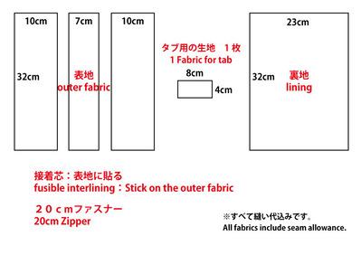 パッチワークのフラットポーチの型紙