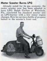 ディーゼル エンジンを搭載したバイクがあったガ、LPGを燃料とするスクーターもあるヨーダ。燃料タンク(=ガスボンベ!)が重ソーダけれども操作に支障ないのだローカ?