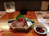 生ビールと刺身
