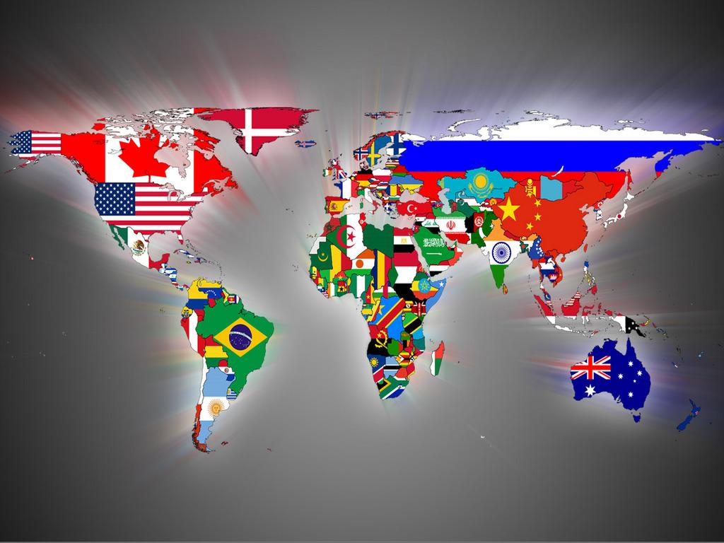 世界地図に国旗の柄がプリント ...