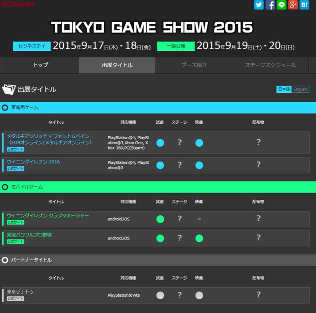 出展タイトル   KONAMI 東京ゲームショウ2015特設サイト
