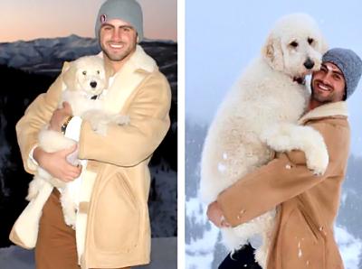 こんなに大きくなりました!子犬を抱っこする男性が3年後同じ場所で大人になった犬を抱っこ