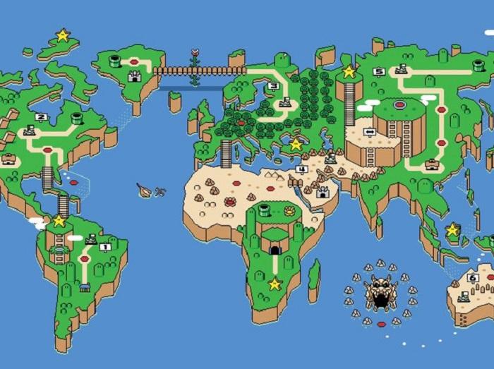世界地図をスーパーマリオ風にするとこうなる