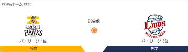 ホークス対ライオンズ 1300~(PayPayドーム)