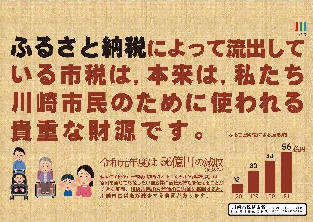 川崎市が市税流出を訴える中刷り広告
