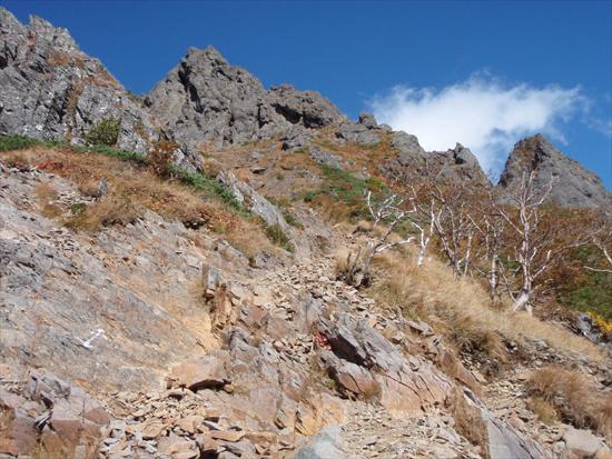 キレットから赤岳への岩稜