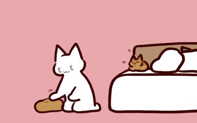 旦那「( ˘ω˘ ) スヤァ… ケリー」 猫「Σ」 私「よしよし(3з3)」