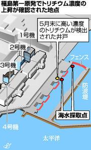 福島第一原発でトリチウム濃度の上昇が確認された地点