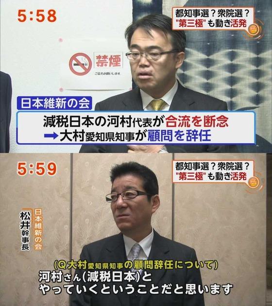 """減税日本""""維新との合流断念"""""""