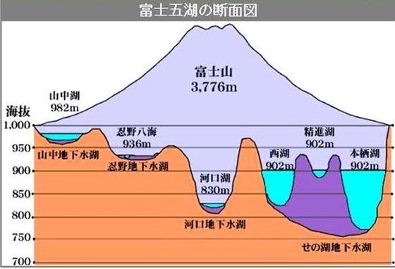 富士五湖断面